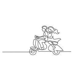 happy couple driving on scooter vector image