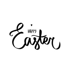 happy easter day brush hand lettering black heart vector image