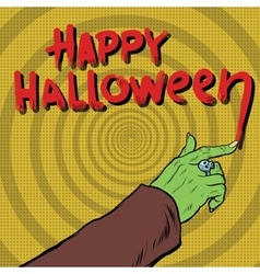 Happy Halloween monster draws blood vector