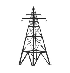 high voltage power line tower engraving vector image