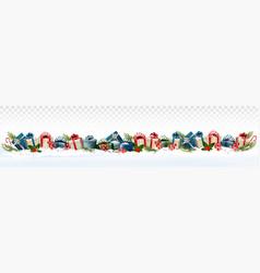 holiday christmas panorama with colorful gift vector image
