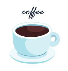 Hot aromatic black coffee vector