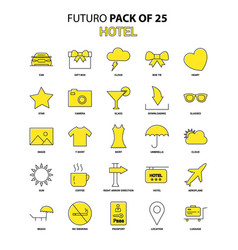 Hotel icon set yellow futuro latest design icon vector
