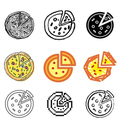 icons pizza vector image