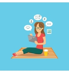 Internet user woman with tablet vector