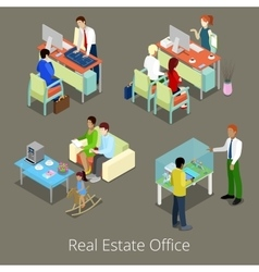 Isometric Real Estate Office Managers and Clients vector