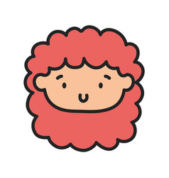 kids toy cute face little doll icon vector image