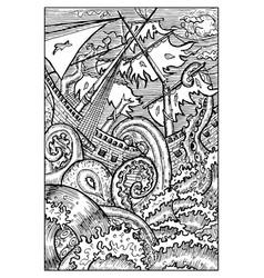 Kraken giant octopus engraved fantasy vector