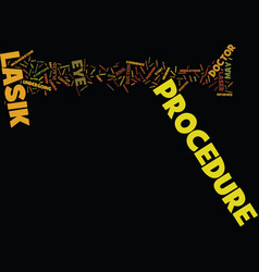 Lasik procedure text background word cloud concept vector