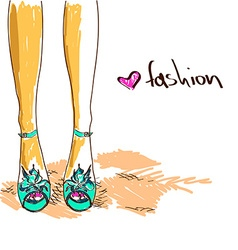 Legs of woman in fashion shoes vector image