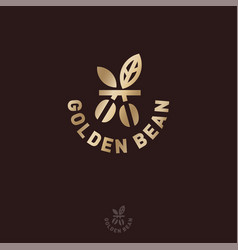 Logo golden coffee bean and leaves vector