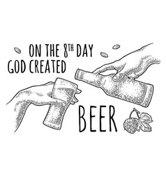 Male finger pouring beer from bottle into glass vector