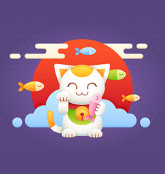Maneki neko lucky charm flat cat vector