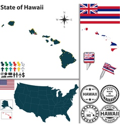 Map of hawaii vector