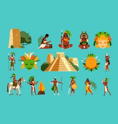 Maya civilization set vector