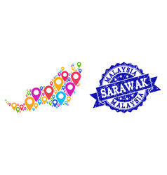 Mosaic map of malaysian sarawak with map pointers vector