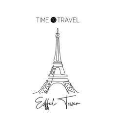 one continuous line drawing eiffel tower romantic vector image