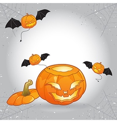 Open head Halloween pumpkin with flying evils vector