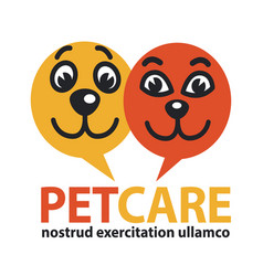 Pat care emblem with dog and cat faces in circles vector
