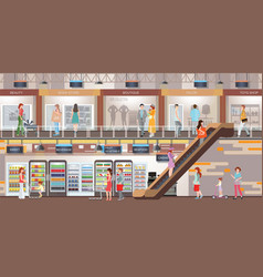 People shopping at shopping mall vector