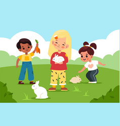 petting zoo children take care rabbits in vector image