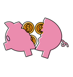 piggy broken with coins cash money vector image