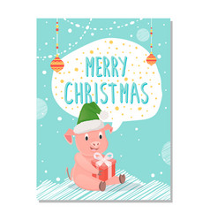 postcard merry christmas 2019 vector image