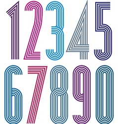 Poster geometric bright decorative striped numbers vector