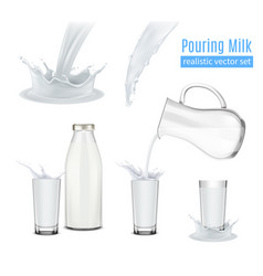 Pouring milk realistic composition vector