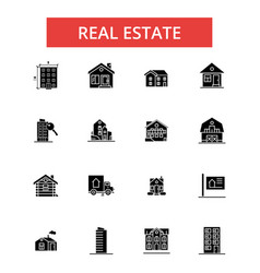 real estate thin line icons linear vector image