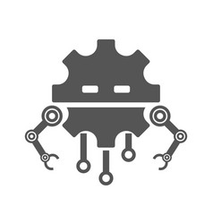 robot head line icon sign pictogram vector image