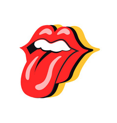 Rock symbol mouth with tongue vector