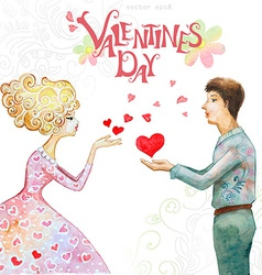 romantic watercolor greeting card with a cute vector image