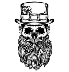 saint patrick skull with he big hat vector image