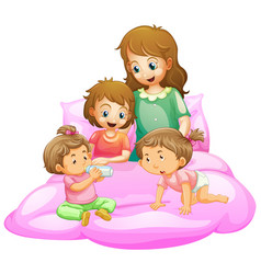 scene with mother and kids getting ready for bed vector image