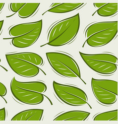 seamless background with green leaves pattern vector image
