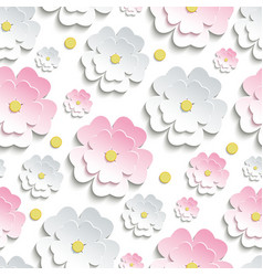 Seamless pattern with pink and white sakura vector