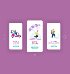 seniors sparetime mobile app page onboard screen vector image