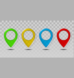 set colorful transparent glass map pointer icon vector image