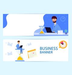 set horizontal banner business process deadline vector image