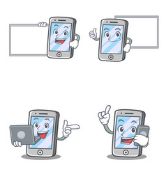 Set of iphone character with pose board laptop vector
