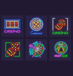 Set of neon icons for casino vector