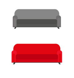 set of sofas with pillows isolated on white vector image