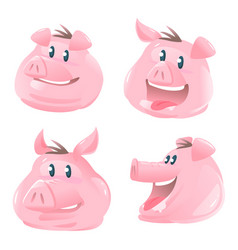 set pig heads cartoon vector image