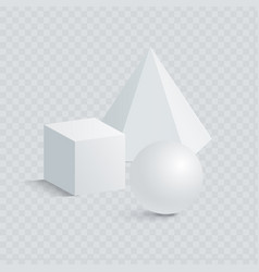 small cube hexagonal prism and sphere 3d shapes vector image