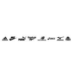Sport clothing brand logo set editorial image vector