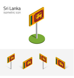 Sri lanka flag set 3d isometric flat icons vector