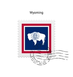 State of Wyoming flag postage stamp vector image