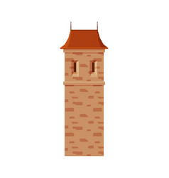 Stone castle tower part medieval ancient vector