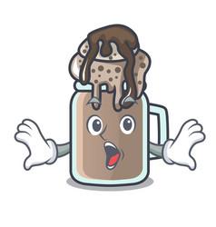 Surprised milkshake mascot cartoon style vector